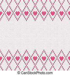 Knitted Pattern - Style Seamless Pink Brown White Color...