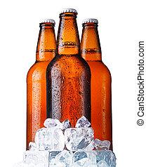 três, Marrom, garrafas, Cerveja, gelo, isolado, branca