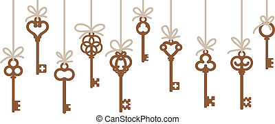 antique skeleton keys - hanging antique skeleton keys