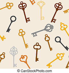 antique skeleton keys - seamless background with antique...