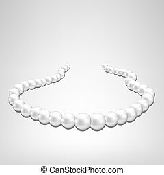 pearl necklace on gray background