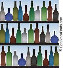 bottles in bar - Colored bottles in bar