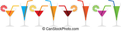 cocktails - Seamless horizontal border of various cocktails