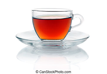 Cup of hot black tea isolated on white background