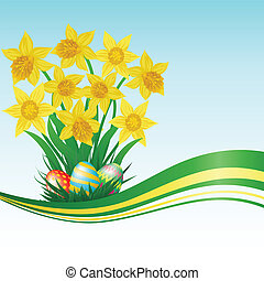 easter card - Easter eggs, daffodils, grass and blue sky