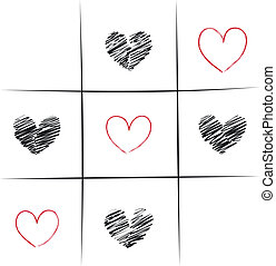 Tic-Tac-Toe Love - Tic-Tac-Toe Game With Hearts...