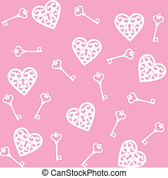 heart and skeleton key - seamless pink background with lock...