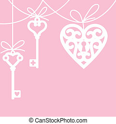 heart and skeleton key - hanging lock shaped heart and...