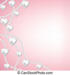 heart pearl necklace pink background