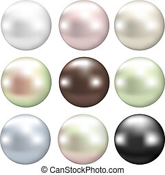 color pearls - Set of various pearls