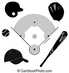 Baseball icons - Icon set showing different baseball...