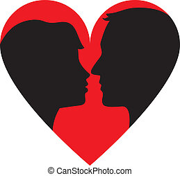 kissing couple - Silhouette of kissing couple in heart frame...