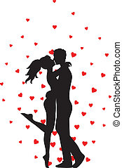 kissing couple and hearts - Silhouette of kissing couple and...