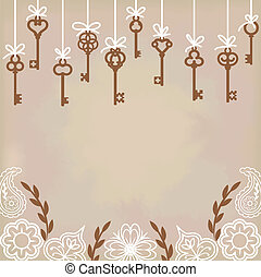 antique skeleton keys - hanging antique skeleton keys with...