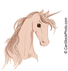 unicorn head on a white background
