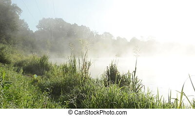 river water fog mist - misty fog rise from flowing river...