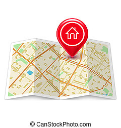 City map with label home pin isolated on white