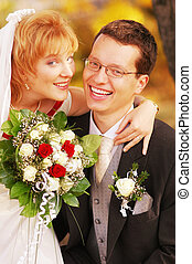 Newlyweds - An young attractive and laughing newlyweds