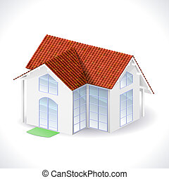 House 3d icon - White house with a tiled roof isolated on...