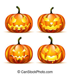 Jack Lantern Pumpkins isolated on white