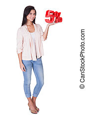 Beautiful woman holding 5 sale sign Isolated on white