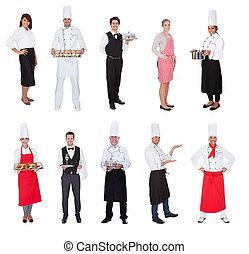 restaurante, Trabalhadores, cozinheiros, Balas, garçons