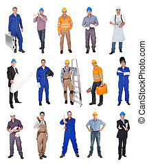 Industrial construction workers. Isolated on white...