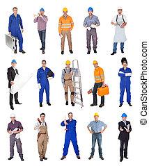 industrial, construcción, trabajadores