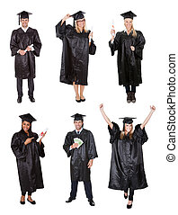 Graduate students - Photos of graduate students. Isolated on...