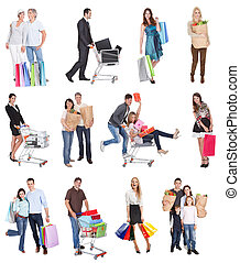 Shopping people with bags and baskets Isolated on white