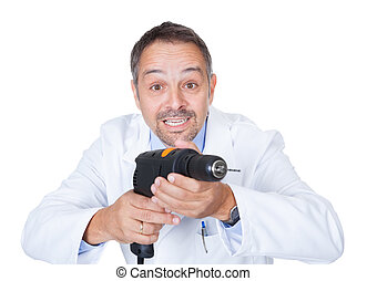 Doctor Holding Drill Machine On White Background