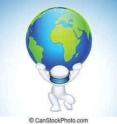 3d Man in Vector holding earth on his back