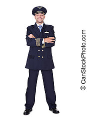 Portrait Of Happy Pilot On White Background