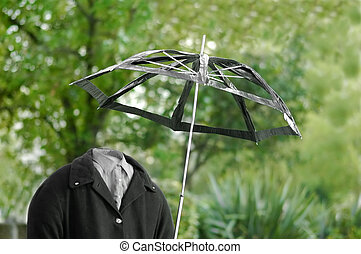 invisible man out for a walk in the rain