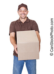 Happy Delivery Man Holding Cardbox Isolated On White...