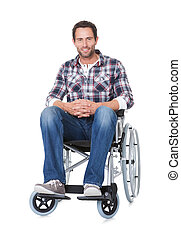 Portrait of middle age man in wheelchair Isolated on white