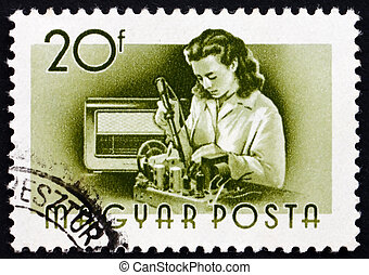 Postage stamp Hungary 1955 Radio Assembler, Profession -...