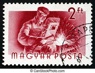 Postage stamp Hungary 1955 Welder, Profession - HUNGARY -...