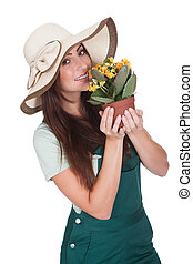 Pretty Woman Inhaling Fragrance Of Fresh Flower. Isolated On...