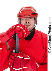 Portrait of professional hockey player Isolated on white