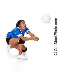 sorprendido, joven, niña, juego, el, voleibol