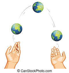 Juggling with Globe - illustration of hand juggling with...
