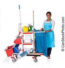 hembra, limpiador, con, limpieza, equipo