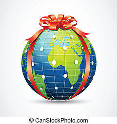 Global Care - illustration of globe wrapped with ribbon on...