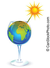 Global Warming - illustration of globe in glass and sun...