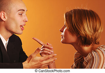 Quarrel - A young woman and man angry on each other