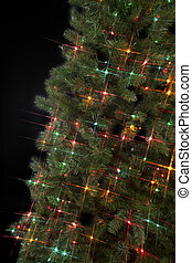 cropped image of christmas tree with decorative lights