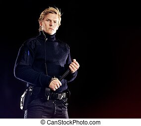 gangster, bezpieczeństwo, oficer, poważny, o,...