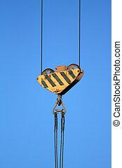 Crane\\\'s wire hawser - Close-up of crane\\\'s wire hawser...