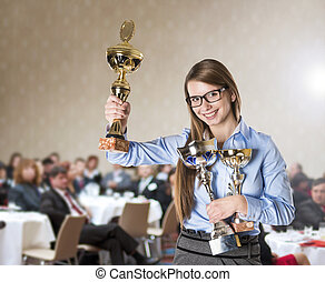 Business conference - Young business woman was awarded on...